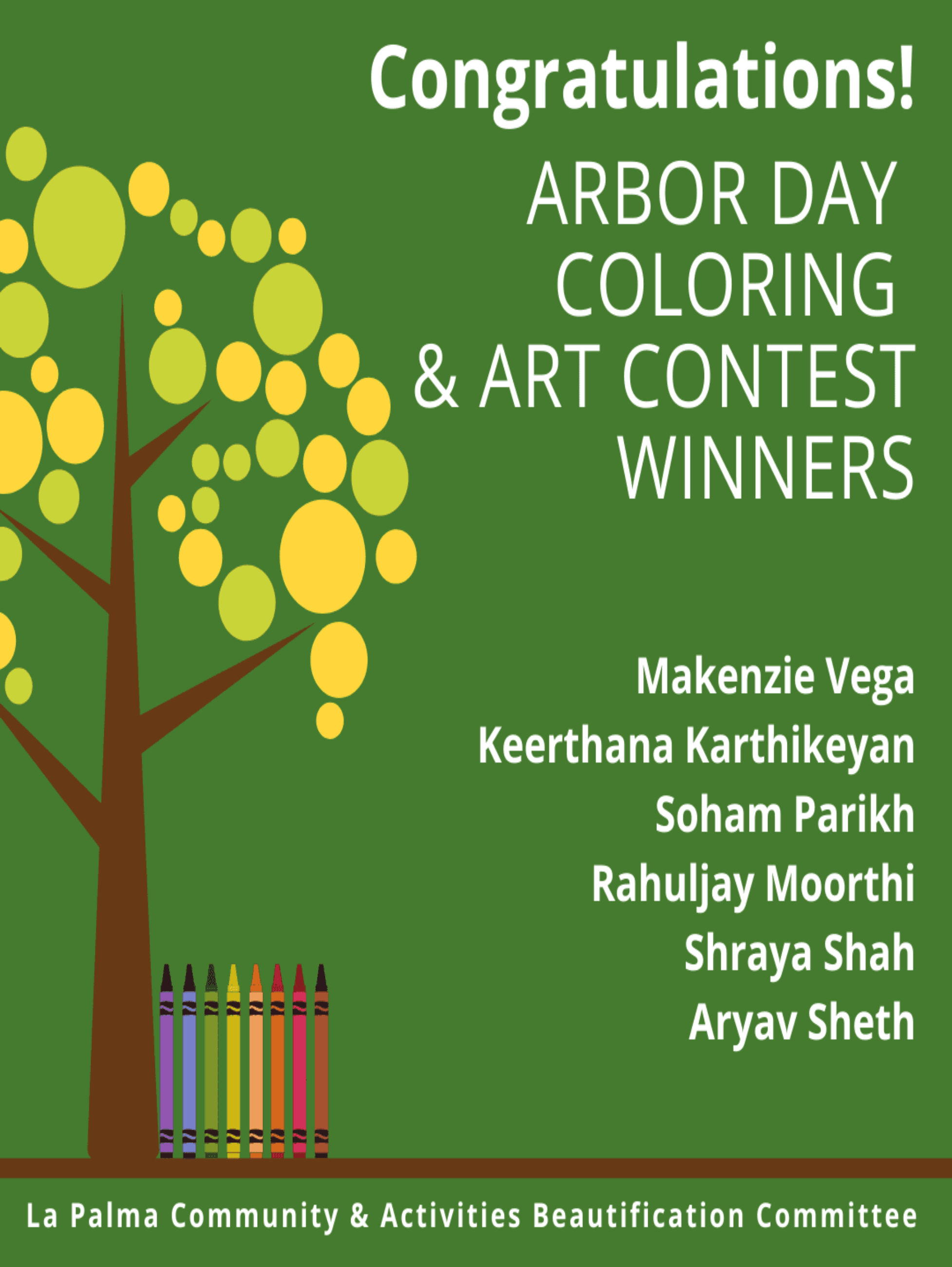 Winners of Arbor Day Coloring Contest